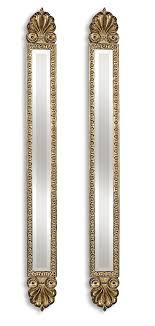 gold slim wall mirror pair tall thin