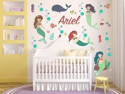 Ocean Mermaid Animal Whale Fish Wall Decals Kids Wall Stickers Etsy