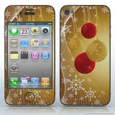 Christmas Shine Gold Background With Christmas Ornaments Cell Phones Apple Iphone 4 4s 4g Decal Skin Wrap Sticker Christmas