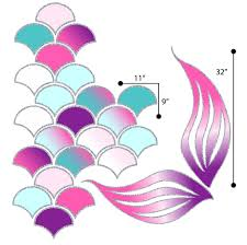 Picture Perfect Decals Mermaid Scales And Tail Reusable Wall Decals Pink Turquoise Purple