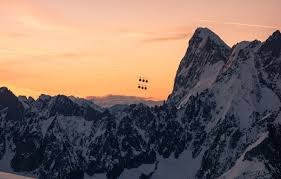 france alps cable car mont blanc