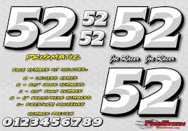 White Prismatic Race Car Numbers Decals Kit Racing Graphics Race Car Lettering