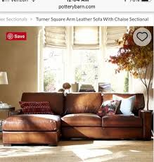 pottery barn turner leather soda