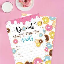 Donuts Tema Cumpleanos Tema Invitaciones Tarjetas Rosa Dulce Donut