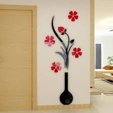 Wish Vintage 3d Vase Flower Tree Crystal Arcylic Wall Sticker Home Room Tv Decor Diy Wall Stickers Living Room Wall Stickers Home Wall Stickers