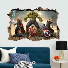 3d Hulk Wall Stickers Home Decor Removable Kids Room Superhero Fake Window Wall Decals Self Adhesive Bedroom Wall Mural Wall Stickers Aliexpress