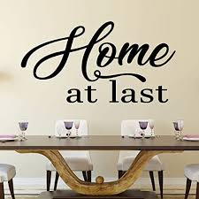 Amazon Com Dining Room Wall Decal Home At Last Farmhouse Vinyl Sticker Decoration For Home Living Room Or Kitchen Decor Handmade
