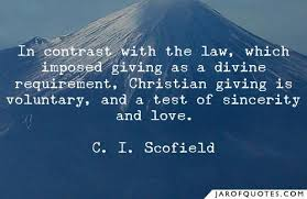 in contrast the law which imposed giving as a divine