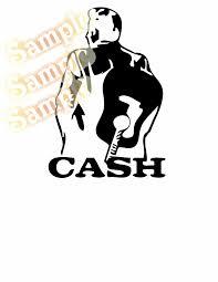 Johnny Cash Back Guitar Decal