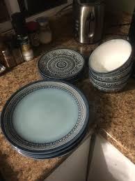 teal medallion 12 piece dinnerware set