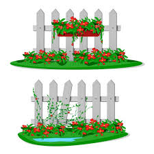 Premium Vector White Cartoon Wooden Fence With Garden Flowers In Hanging Pots Set Of Garden Fences On White Background Wood Boards Silhouette Construction In Style With Flower Hanging Decorations