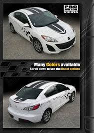 Mazda 3 2009 2013 Coupe Dual Stripes And Side Checkers Decals Mazda 3 Mazda Stripes