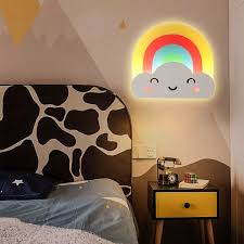 Led Bedroom Wall Light Kids Yellow And Red Sconce Lamp With Rainbow And Cloud Acrylic Shade Warm White Light Sconces