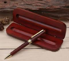 wooden pens in wooden gift bo are