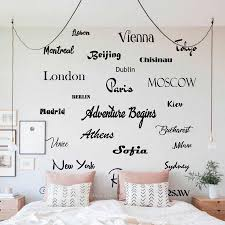Travel Wall Decal City Name Wall Decals Office Wall Sticker Country Capital Vinyl Mural For Home Bedroom Adventure Stickers N188 Wall Stickers Aliexpress