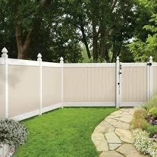Veranda Roosevelt 6 Ft H X 8 Ft W Two Toned White And Sand Vinyl Privacy Fence Panel Kit 73024519 Vinyl Privacy Fence Backyard Fences Privacy Fence Panels