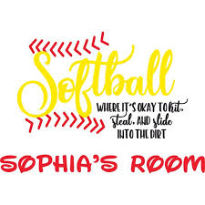 Hit Steal Slide Softball Sports Player Customized Wall Decal Custom Vinyl Wall Art Personalized Name Baby
