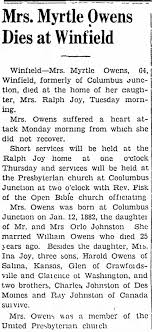 Owens Family History - Myrtle Owens - Newspapers.com