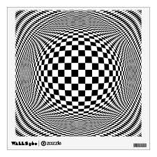 Optical Illusion Checkers Wall Decal Zazzle Com