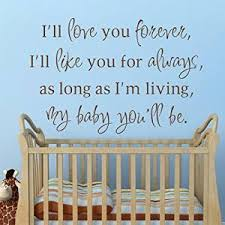 Nursery Vinyl Wall Sticker Quotes Sayings Nursery Decor Decal Wall Stickers Love You Forever Like You Always As Long As Im Living My Baby Youll Be Baby Nursery
