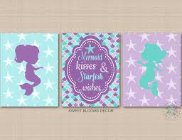 Mermaids Wall Art Mermaid Nursery Decor Mermaid Kisses Starfish Wishes Sweet Blooms Decor