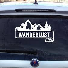 Wanderlust Cool Mountain Banner Traveling Or Hiking Car Decal Car Decals Cool Stuff Shop Design