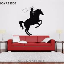 Joyreside Horse With Man Wall Decal Wild Country Cowboy Wall Sticker Western Vinyl Decor Home Livingroom Interior Designed A832 Wall Stickers Aliexpress