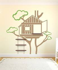 Light Brown Lime Green Treehouse Wall Decal Set Wall Decals Kids Room Tree House