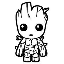 Amazon Com Baby Groot Vinyl Decal Sticker Cars Trucks Vans Walls Laptops Cups Black 5 5 Inches Kcd1526 Kitchen Dining