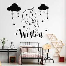 Cartoon Whale Decal Custom Boys Name Wall Sticker Cute Narwhal Vinyl Stickers Personalized Decals Cloud Stars Diy Nursery Lc1670 Leather Bag
