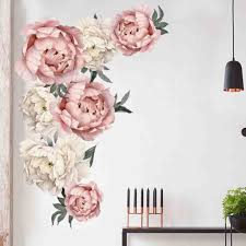 Large Pink Peony Flower Wall Stickers Romantic Flowers Home Decor Wallpaper For Bedroom Living Room Diy Vinyl Wall Decals Wall Stickers Aliexpress