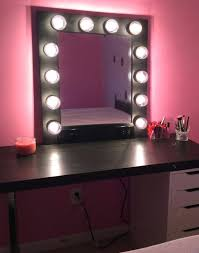 black bedroom vanity with lights set