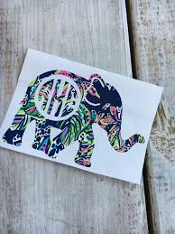 Choose Your Own Elephant 2 12 Lilly Pulitzer Monogram Decal Vinyl Monogram Yeti Monogram C Monogram Decal Yeti Monogram Stickers Monogram Decal
