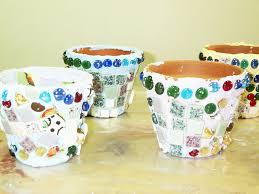 mosaic flowerpots craft for kids from