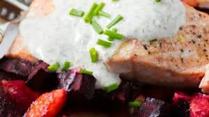 roasted salmon and root vegetables with