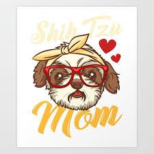 shih tzu mom print for women dog lover