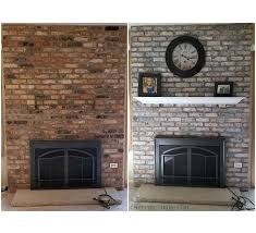white wash brick fireplace makeover
