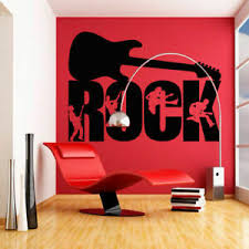 Large Wall Decal Rock Music Artist Style Guitar Bass Microphone M844 Ebay