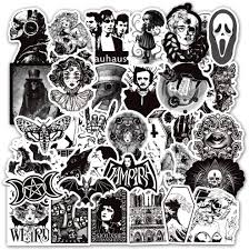 Amazon Com Gothic Stickers For Hydro Flask 50 Pcs Vinyl Waterproof Stickers For Laptop Skateboard Water Bottles Computer Phone Punk Stickers Cool Stickers Horror Black And White Stickers Gothic 50pcs Arts Crafts Sewing