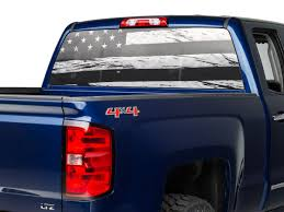 Sec10 Silverado 1500 Perforated Distressed Flag Rear Window Decal S103539 07 21 Silverado 1500