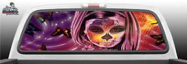 Sexy Sugar Skull Girl Tattoo Perforated Rear Window Graphic Decal Suv Truck Car Ebay