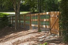 3 Rail Corral Fence With Wire And Picket Gate Designed And Built By Atlanta Decking Fence Decking Fence Picket Gate Fence Design