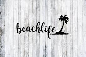 Beach Life Palm Tree Decal Beach Life Palm Tree Sticker Marine Life Decal Car Decal Truck Decal Tumbler Decal Tree Decals Palm Tree Sticker Truck Decals