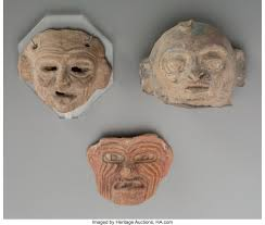 Three Press-mold Heads... (Total: 3 Items) Ceramics & Porcelain | Lot  #70472 | Heritage Auctions