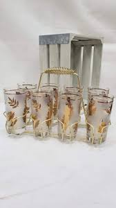 set of 8 mid century libby gold leaf