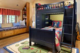 Splashy L Shaped Bunk Beds In Kids Traditional With Triple Bunk Bed Next To Building Loft Beds With Desks Alongside Area Rug Under Bed And Queen Over Queen Bunk Bed