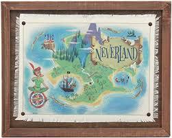 Amazon Com Open Road Brands Peter Pan Neverland Map Framed Wood Wall Decor Home Kitchen