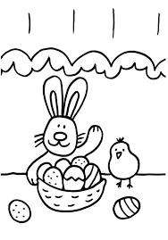 conejo y pollito dibujo para colorear