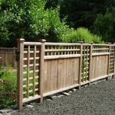 Replace Full Length Lattice Sections With Wire Fencing And Plant Conifers So They Grow Through The Wire To Hide It Fence Landscaping Fence Styles Fence Design