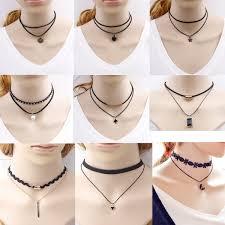 black imitation leather choker necklace